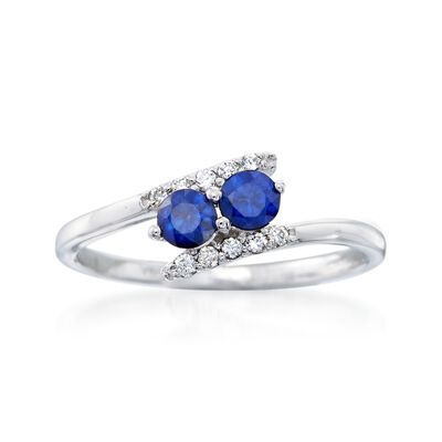 .40 ct. t.w. Sapphire and .10 ct. t.w. Diamond Two-Stone Ring in 14kt White Gold, , default