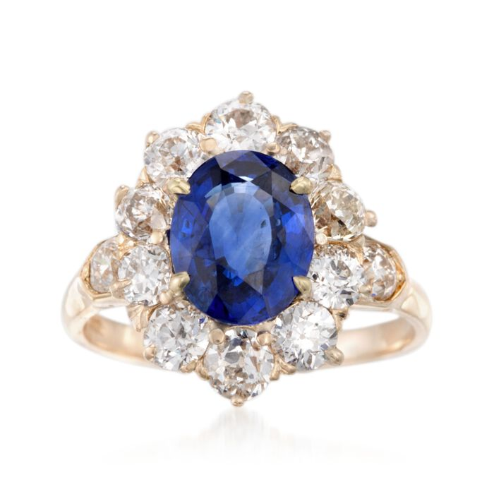 C. 1970 Vintage 2.75 Carat Sapphire and 2.00 ct. t.w. Diamond Ring in 14kt Yellow Gold. Size 7, , default