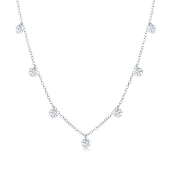 "1.75 ct. t.w. CZ Station Necklace in Sterling Silver. 16"", , default"