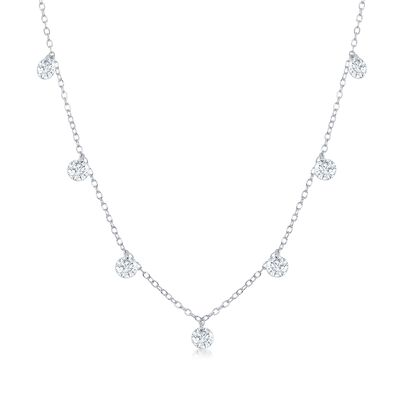 1.75 ct. t.w. CZ Station Necklace in Sterling Silver, , default