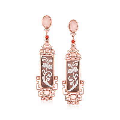 Italian Brown Shell, Rose Quartz, Red Agate and .50 ct. t.w. White Topaz Floral Cameo Drop Earrings in 18kt Rose Gold Over Sterling, , default