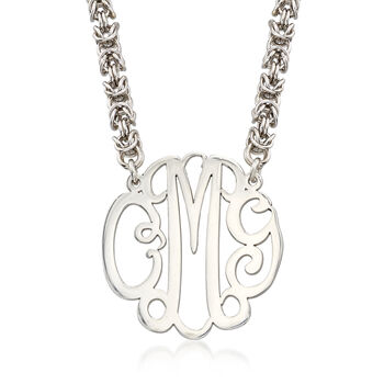 Sterling Silver Script Monogram Rolled Byzantine Necklace, , default