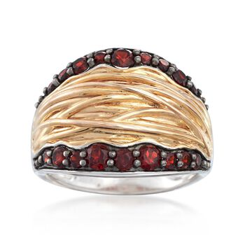 1.10 ct. t.w. Garnet Ring in Two-Tone Sterling Silver, , default