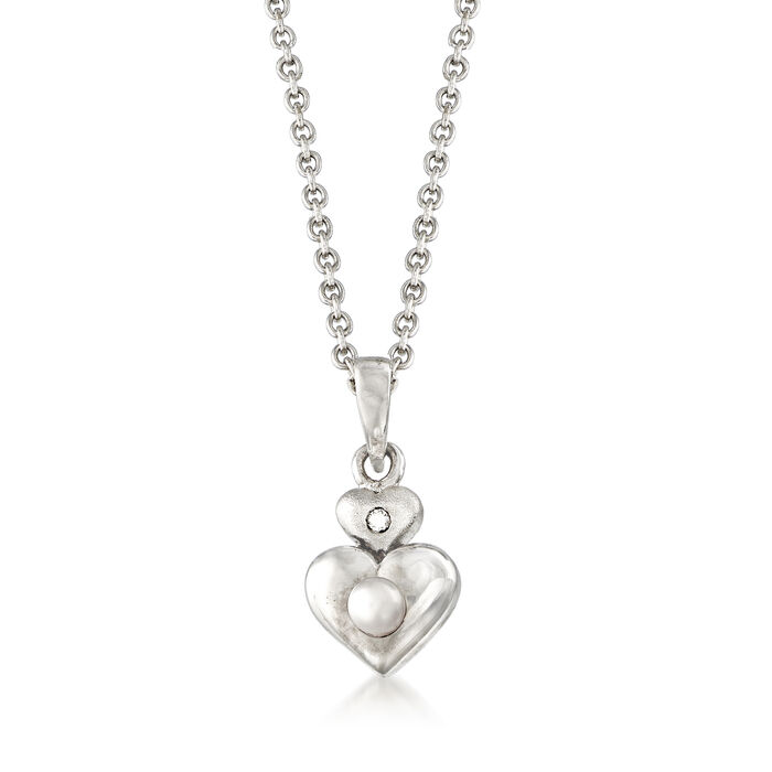 """Child's Cultured Pearl Double Heart Pendant Necklace with Diamond Accent in Sterling Silver. 13"""", , default"""