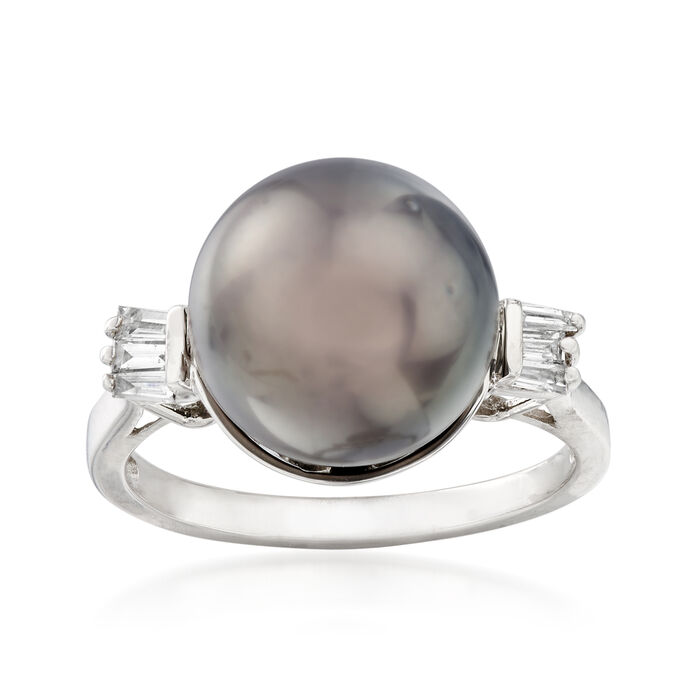 11-11.5mm Cultured Black Tahitian Pearl and .18 ct. t.w. Diamond Ring in 14kt White Gold, , default