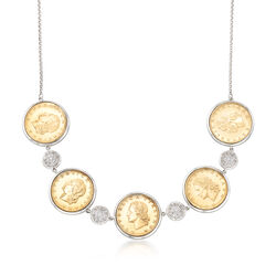 Italian Genuine Lira Coin and 1.10 ct. t.w. Pave CZ Necklace in Sterling Silver, , default