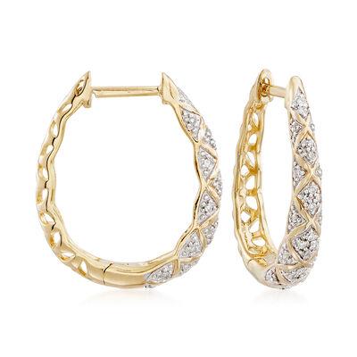 .15 ct. t.w. Diamond Crisscross Hoop Earrings in 18kt Yellow Gold Over Sterling Silver, , default