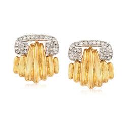 C. 1980 Vintage 1.20 ct. t.w. Diamond Shrimp Earrings in 18kt Yellow Gold, , default