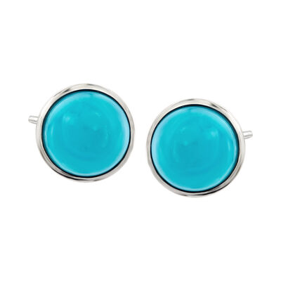 Sleeping Beauty Turquoise Stud Earrings in Sterling Silver , , default