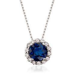 "1.00 Carat Sapphire and .20 ct. t.w. Diamond Pendant Necklace in 14kt White Gold. 16"", , default"
