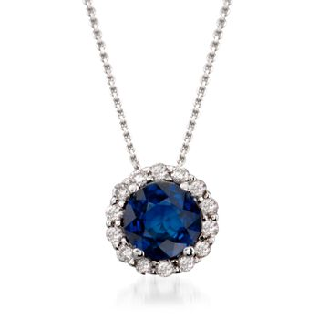 """1.00 Carat Sapphire and .20 ct. t.w. Diamond Pendant Necklace in 14kt White Gold. 16"""", , default"""