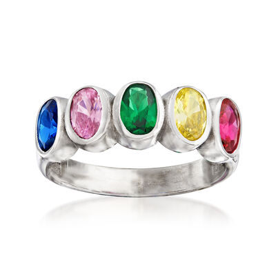 2.50 ct. t.w. Multicolored CZ Ring in Sterling Silver