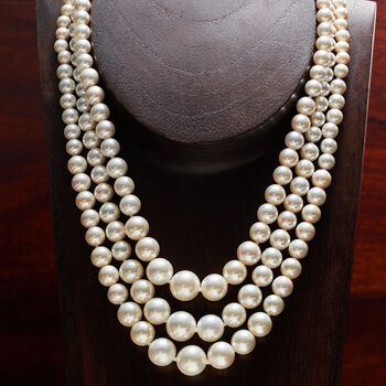 "6-12mm Shell Pearl Graduated Three-Strand Necklace in Sterling Silver. 18"", , default"