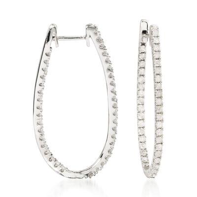 1.00 ct. t.w. Diamond Elongated Inside-Outside Hoop Earrings in 14kt White Gold
