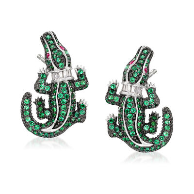 .95 ct. t.w. Simulated Emerald and .10 ct. t.w. CZ Alligator Earrings in Sterling Silver, , default