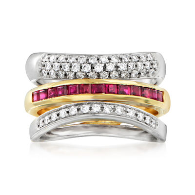 C. 1990 Vintage 1.15 ct. t.w. Ruby and .45 ct. t.w. Diamond Layered Ring in 18kt Two-Tone Gold, , default