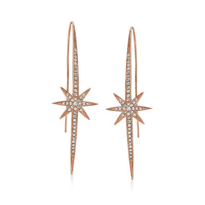 .39 ct. t.w. Diamond Starburst Drop Earrings in 14kt Rose Gold, , default