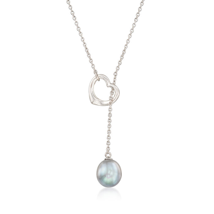 9-10mm Gray Cultured Pearl Heart Lariat Necklace in Sterling Silver