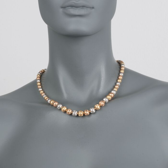 "C. 1990 Vintage 6-8mm 18kt Tri-Colored Gold Textured Bead Necklace. 18"", , default"