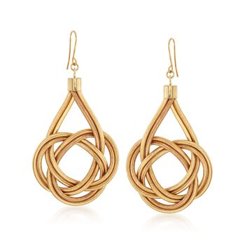 Italian Flex Knot Drop Earrings With 18kt Gold Over Sterling , , default