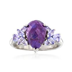 Purple Turquoise and .80 ct. t.w. Purple Tanzanite Ring in Sterling Silver, , default