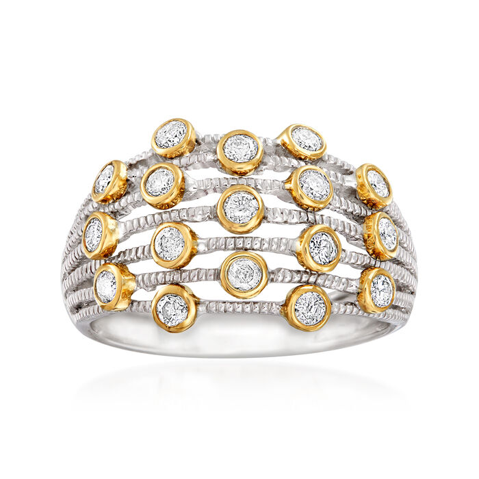 .50 ct. t.w. Diamond Bezel-Set Station Multi-Row Ring in Sterling Silver and 14kt Yellow Gold