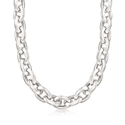 Italian Sterling Silver Oval Link Necklace, , default