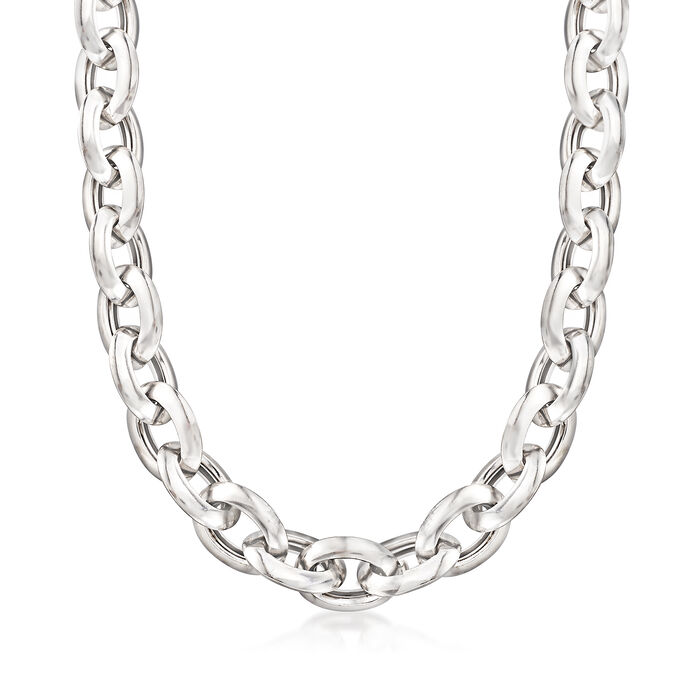 "Italian Sterling Silver Oval Link Necklace. 18"", , default"