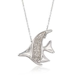 "Diamond Accent Fish Necklace in Sterling Silver. 16"", , default"