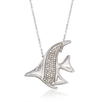 """Diamond Accent Fish Necklace in Sterling Silver. 16"""", , default"""