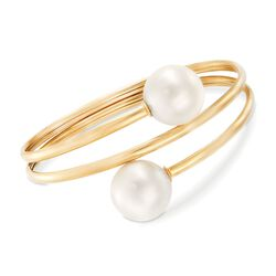 "14mm Cultured South Sea Pearl Bypass Bangle in 18kt Yellow Gold. 7"", , default"