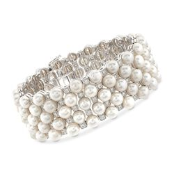 5.5-6mm Cultured Pearl and 1.50 ct. t.w. White Topaz Bracelet in Sterling Silver, , default