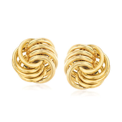 Italian 14kt Yellow Gold Open Love Knot Earrings