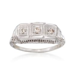 C. 1950 Vintage .10 ct. t.w. Diamond Filigree Ring in 14kt White Gold. Size 6.75, , default