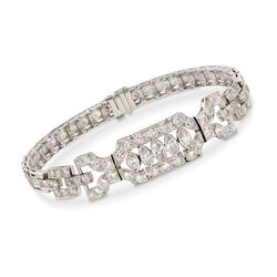 "C. 1980 Vintage 4.30 ct. t.w. Marquise and Round Diamond Bracelet in Platinum. 7"", , default"