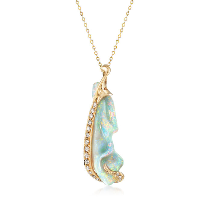 """C. 1980 Vintage Opal and .60 ct. t.w. Diamond Pendant Necklace in 14kt Yellow Gold. 18"""", , default"""