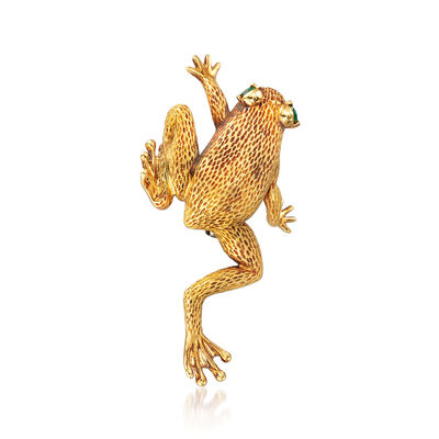 C. 1970 Vintage Henry Dunay .15 ct. t.w. Emerald Frog Pin in 18kt Yellow Gold, , default