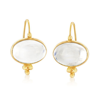 Mazza 14x10mm Moonstone Drop Earrings in 14kt Yellow Gold, , default