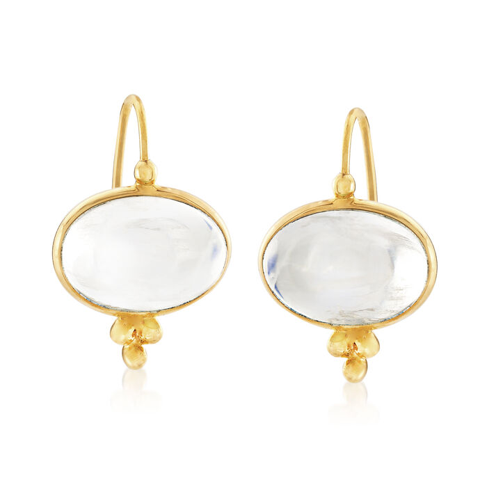 Mazza 14x10mm Moonstone Drop Earrings in 14kt Yellow Gold, , default