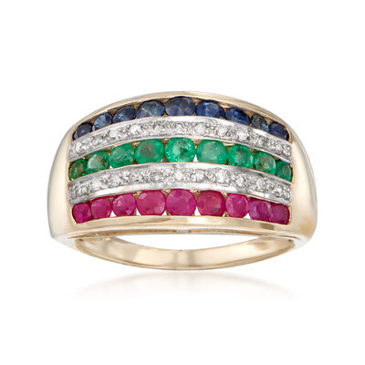 1.31 ct. t.w. Multi-Gemstone Ring in 14kt Yellow Gold, , default