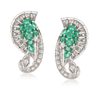 C. 1960 Vintage 2.25 ct. t.w. Emerald and 1.00 ct. t.w. Diamond Earrings in Platinum, , default
