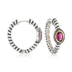 2.00 ct. t.w. Rhodolite Garnet Bali-Style Hoop Earrings in 14kt Gold and Sterling Silver, , default