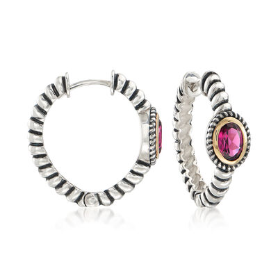 2.00 ct. t.w. Rhodolite Garnet Bali-Style Hoop Earrings in 14kt Gold and Sterling Silver, , default