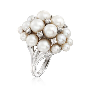 C. 1960 Vintage 4x6.5mm Cultured Pearl and .55 ct t.w. Diamond Cluster Ring in 14kt White Gold. Size 7, , default