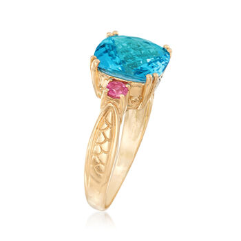 4.40 Carat Blue Topaz and .20 ct. t.w. Pink Tourmaline Ring with Diamond Accents in 14kt Yellow Gold, , default