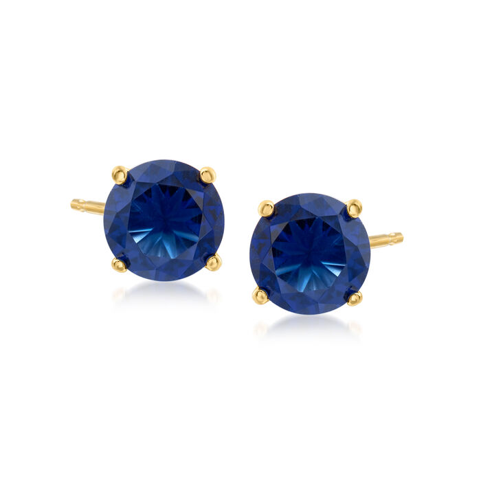 4.25 ct. t.w. Simulated Sapphire and 3.00 ct. t.w. CZ Jewelry Set: Bolo Bracelet and Stud Earrings in 18kt Gold Over Sterling