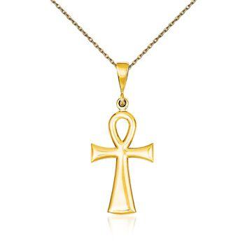 "14kt Yellow Gold Ankh Cross Pendant Necklace. 18"", , default"