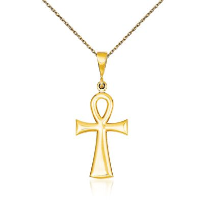 14kt Yellow Gold Ankh Cross Pendant Necklace, , default