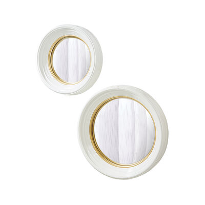 Set of 2 White Lacquer Round Convex Mirrors, , default