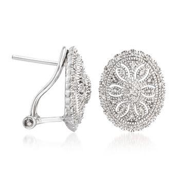 .20 ct. t.w. Diamond Vintage-Style Earrings in Sterling Silver , , default